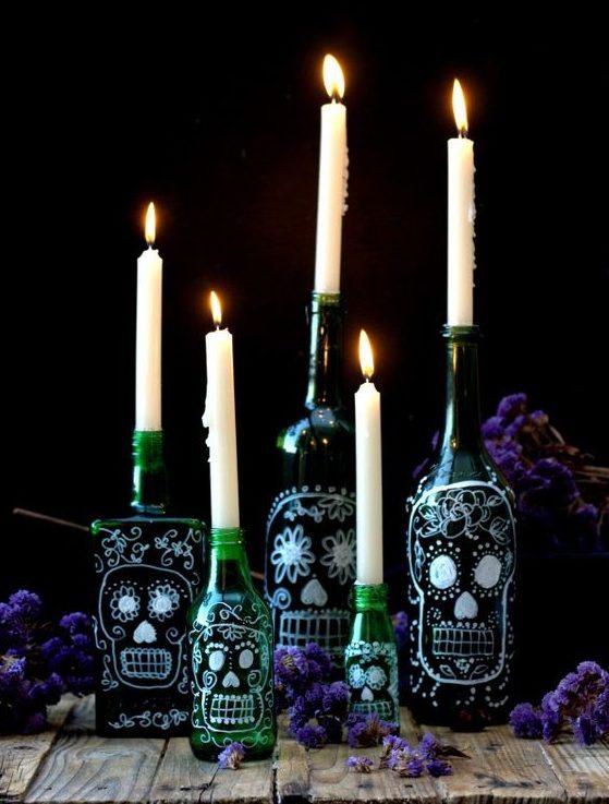 botellas decoradas para halloween