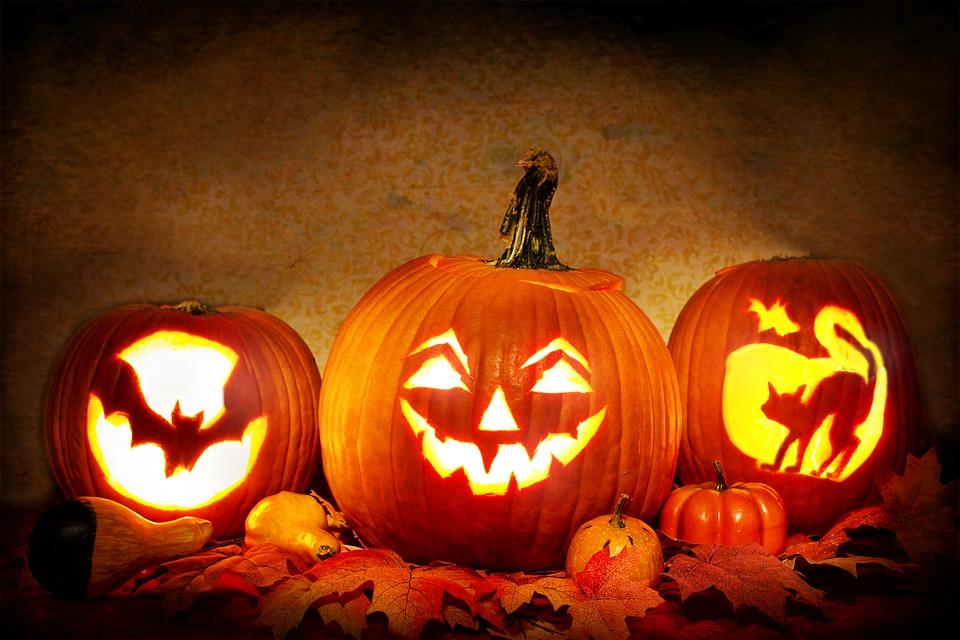 calabazas de halloween encendidas