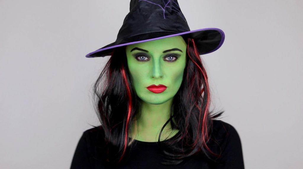 maquillado de bruja color verde