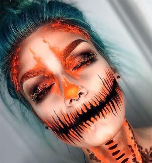 maquillaje naranja con negro halloween