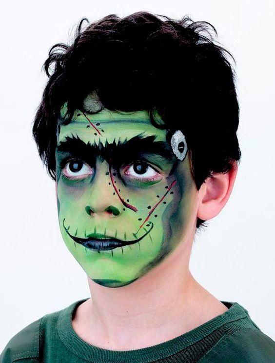 maquillaje de niño verde