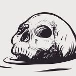 ilustracion de calavera de halloween