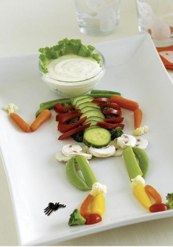 esqueleto hecho con vegetales