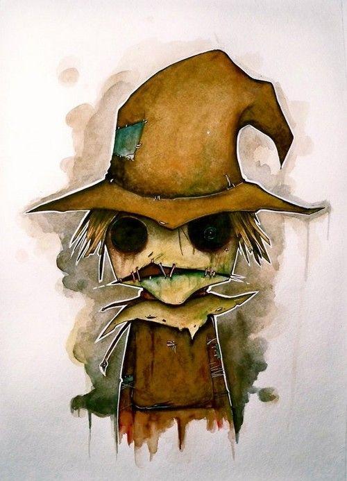 caricatura espantapájaros de halloween