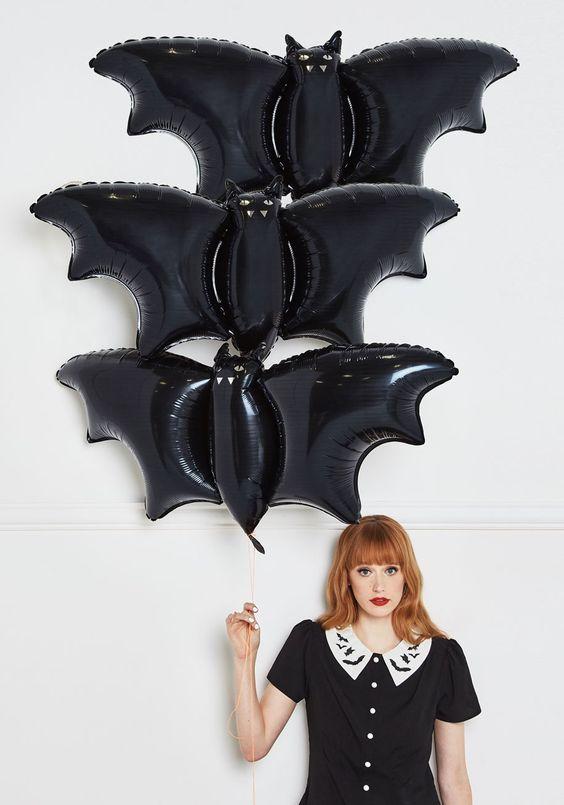 globos de halloween murcielagos
