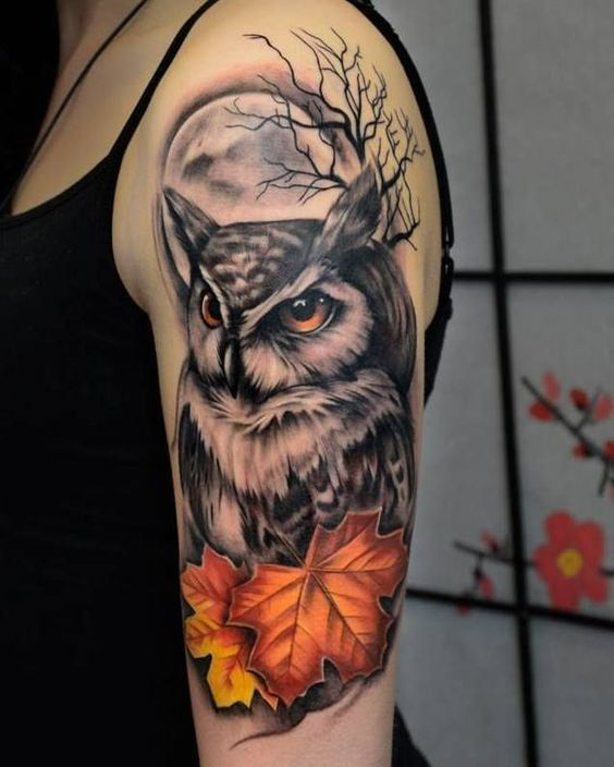 tattoo de halloween de lechuza