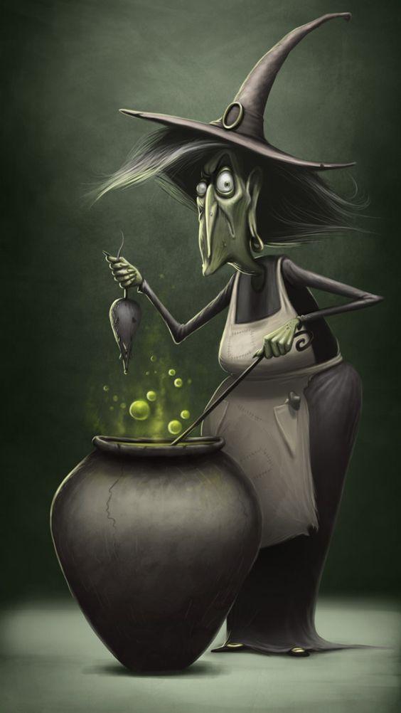 personaje de halloween bruja