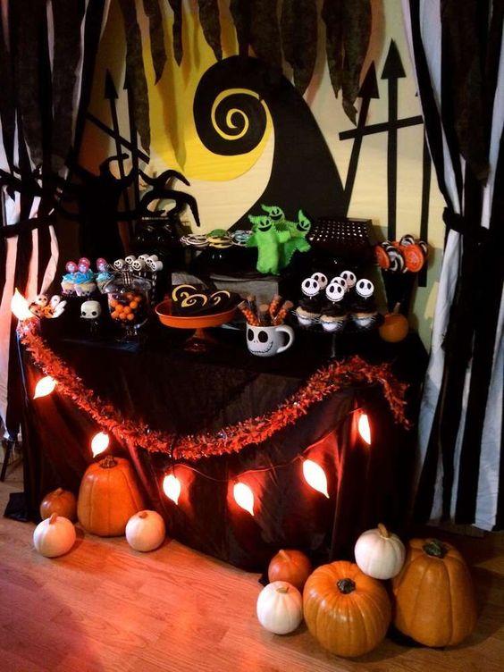 mesa de postres para halloween