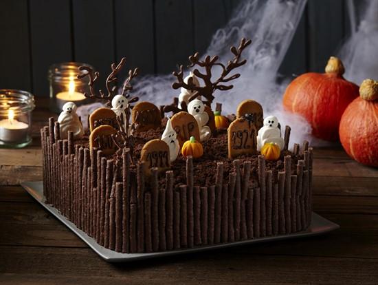 tarta de cementerio de halloween